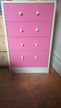 Pink and white wooden 5-drawer dresser