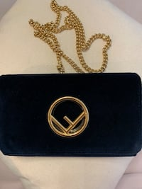 Fends Suede Navy Wallet on Chain Toronto, M5V 1K3