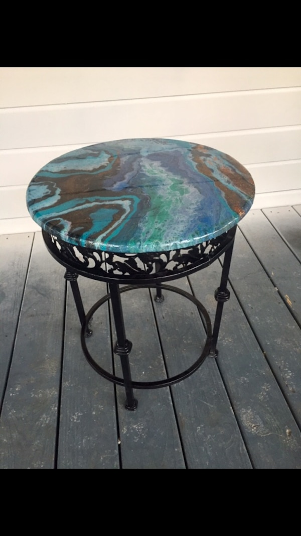 Metal end table with acrylic and resin poured top surface
