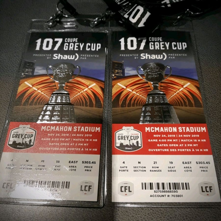 2 Grey Cup and Keith Urban tickets.