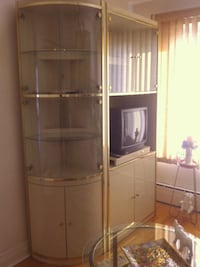 Beige high gloss wall unit with 1glass tables Montréal, H1P 3P4
