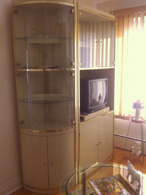 Beige high gloss wall unit with 1glass tables