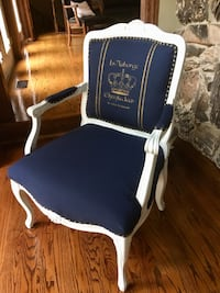 Refinished Reupholstered Stenciled Navy Blue and White Arm Chair Bartlett, 60103