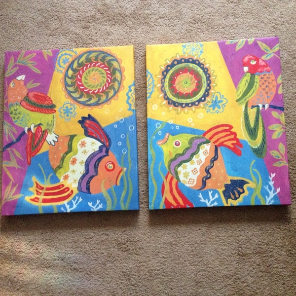 two yellow-pink-blue-and-green fish and bird paintings 59cc7997-8765-4f06-9484-eff4ebc37361