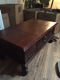Dark Brown Coffee Table with End Table