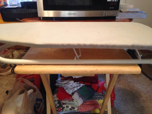 gray clothes ironing board