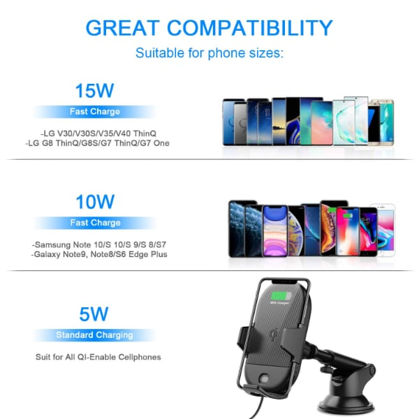 Wireless Car Charger, 15W Qi Fast Charging Car Mount Charger Automatic