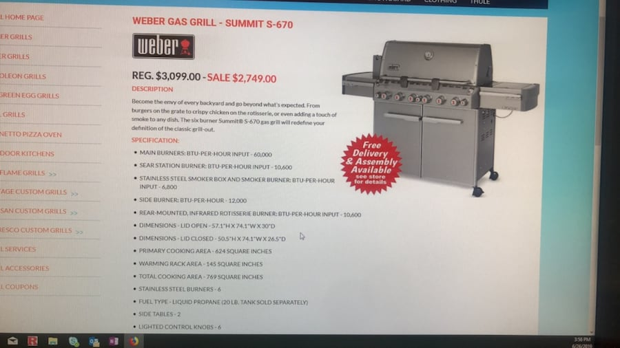 Weber Summit gas grill with rotisserie and side burner. Best Offer 444dee4d-35c6-4411-8291-85edae4283fc