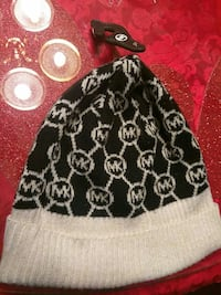 monogrammed black and white Michael Kors fabric knit cap