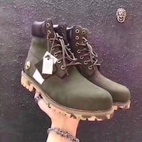 pair of green Timberland work boots Toronto, M3J 1M4