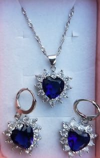 White gold filled sapphire and cz heart necklace a