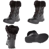 NEW w Tags US Polo Assn BLACK Arctic Boot Womens 6 Mid-Calf Faux Fur Lace-Up JOLIET