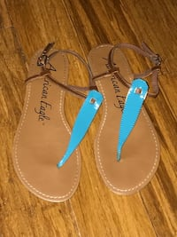 pair of brown-and-blue leather sandals Manassas, 20109