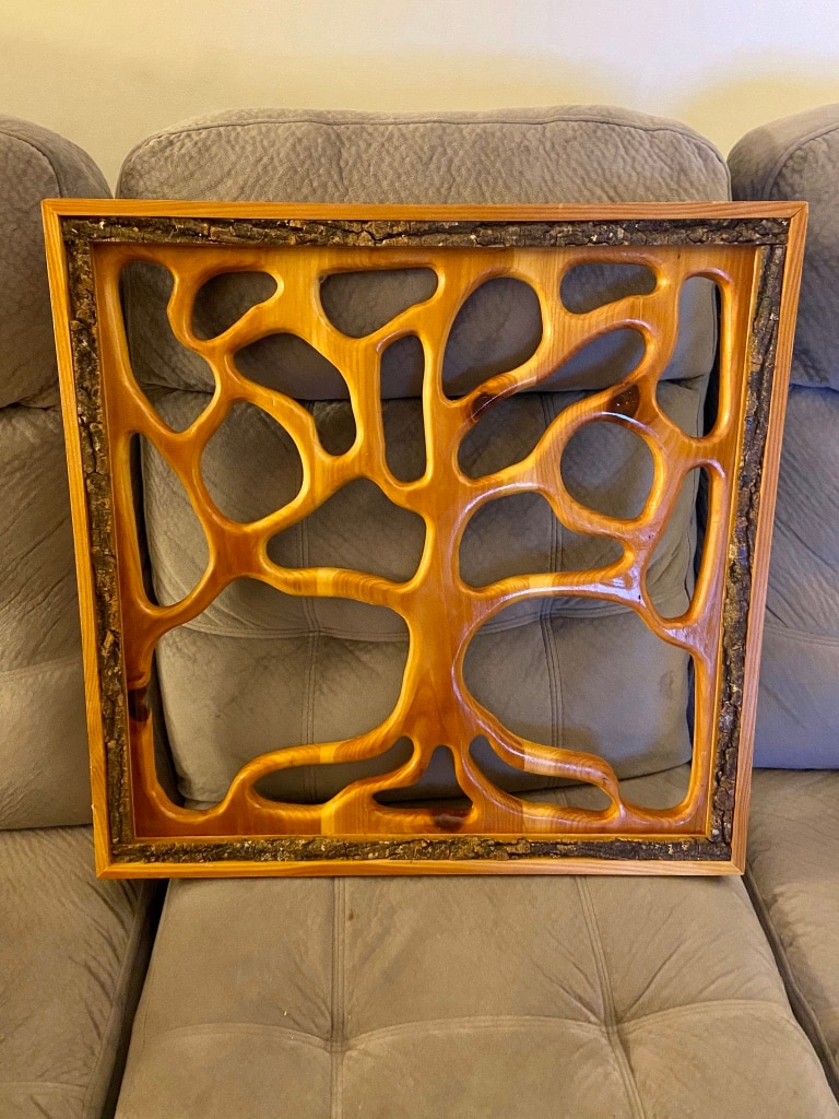 Photo Lg Hand Carved Wooden Tree of Life