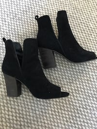 pair of black suede heeled shoes Vancouver