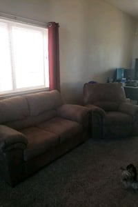 Loveseat and matching recliner