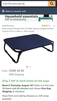 New, unused Heavy Duty Elevated Pet Cot With Spring Loaded Surface Tension 61cm x 46cm x 18cm Small  St Thomas, N5R 6M6