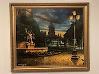 Beautiful oil painting 1993 Lwow main square Toronto, M2R 1Z1