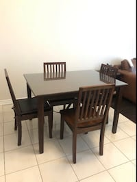 FREE DELIVERY- BROWN WOOD/GLASS DINING TABLE SET(4 chairs)- GREAT COND