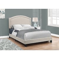 Monarch Specialties Full,Double Size Bed, Beige Linen With Antique Brass Trim (I 5937F) Mississauga