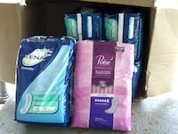 6 packs of Tena & 1 pack of Poise pads Franklinton