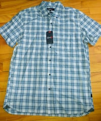 New short sleeve blue white plaid button-up shirt Montreal, H8T