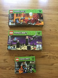 Three Lego Minecraft labeled boxes