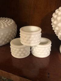 Vintage milk glass napkin rings Peabody, 01960