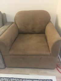 Brown fabric sofa chair in good condition  Vancouver, V5S