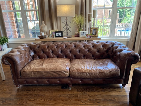 KENSINGTON Leather Sofa In Vintage Cigar