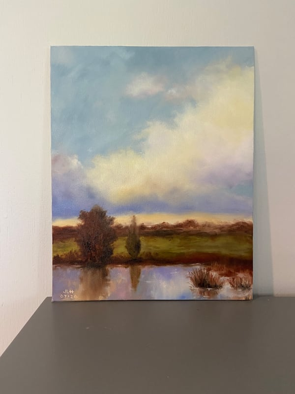 Sunset reflected on the pond oil painting 8x10 1