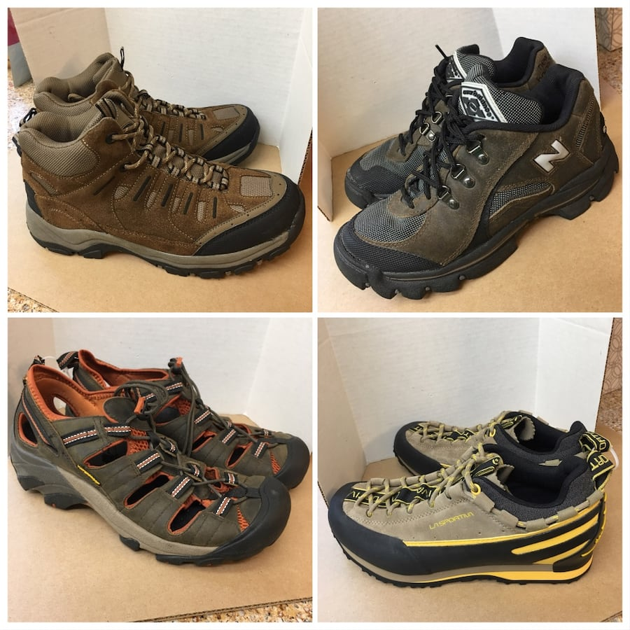 Hiking men boots, hiking shoes and river sandals