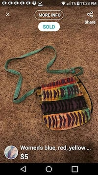 blue, black, green and orange sling bag