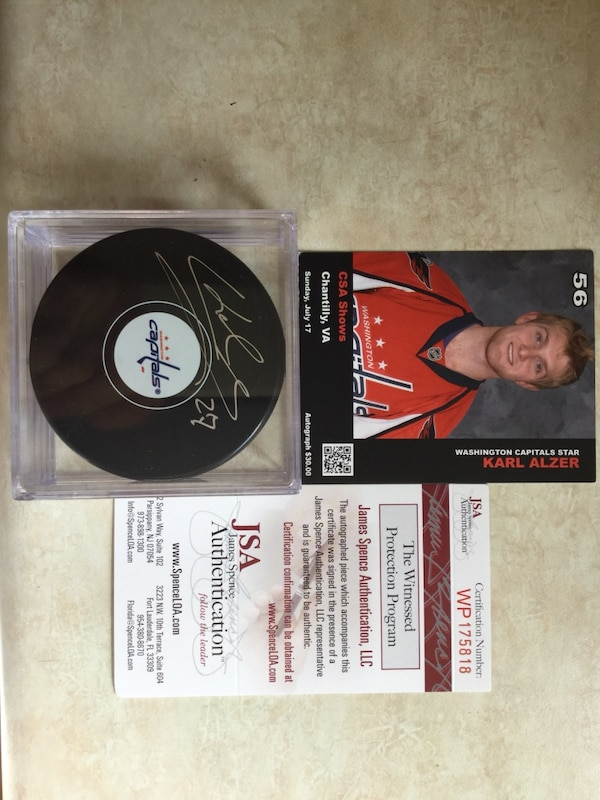 Karl Alzer Signed Capitals Hockey Puck