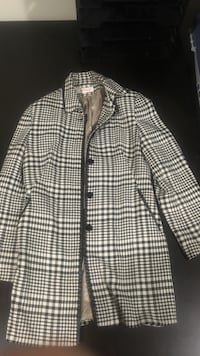 white and black checkered button-up jacket
