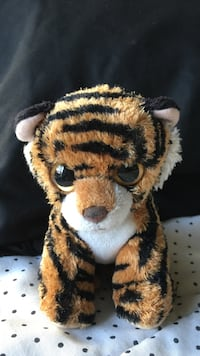 black and brown tiger plush toy