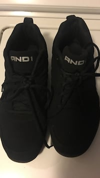 pair of black AND 1 shoes