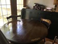 round brown wooden table with four chairs dining set Chalfont, 18914