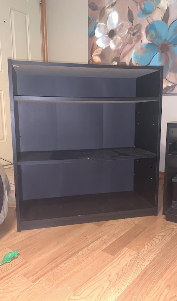 Surround sound system and tv stand and 2 bookshelves  9c417f4a-bad5-4fd1-8cce-d490dd5533aa