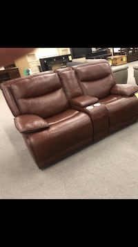 Genuine Leather Reclining Couch Burlington