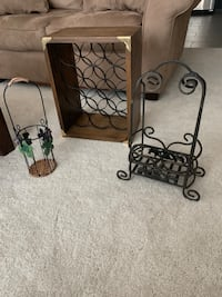 Wine rack, holds a full case, and two decorative bottle displays
