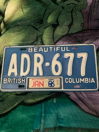 VINTAGE license plate. 1986. Expo86