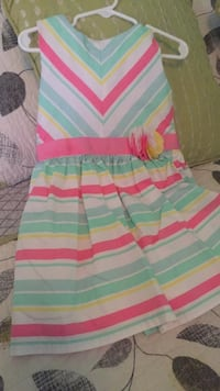 white, pink, and green striped sleeveless dress Winder, 30680