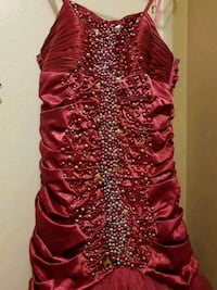 women's red and silver studded strapless dress London, N6E 3N1