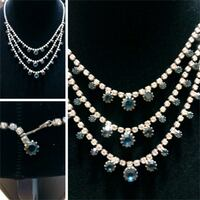 silver-colored necklace with Blue and diamond  Modesto, 95350