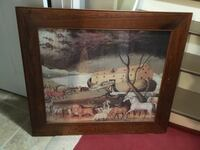 Noah's ark painting with brown wooden frame