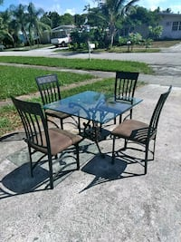 black metal framed glass top table with chairs Lantana, 33462