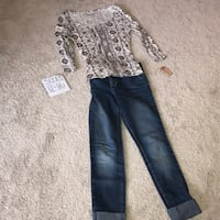 women's gray and white printed long sleeved scoop neck shirt and blue denim faded jeans Le Sauk, 56377