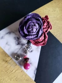 purple floral badge ID clip