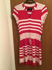 women's white and pin striped short-sleeved dress